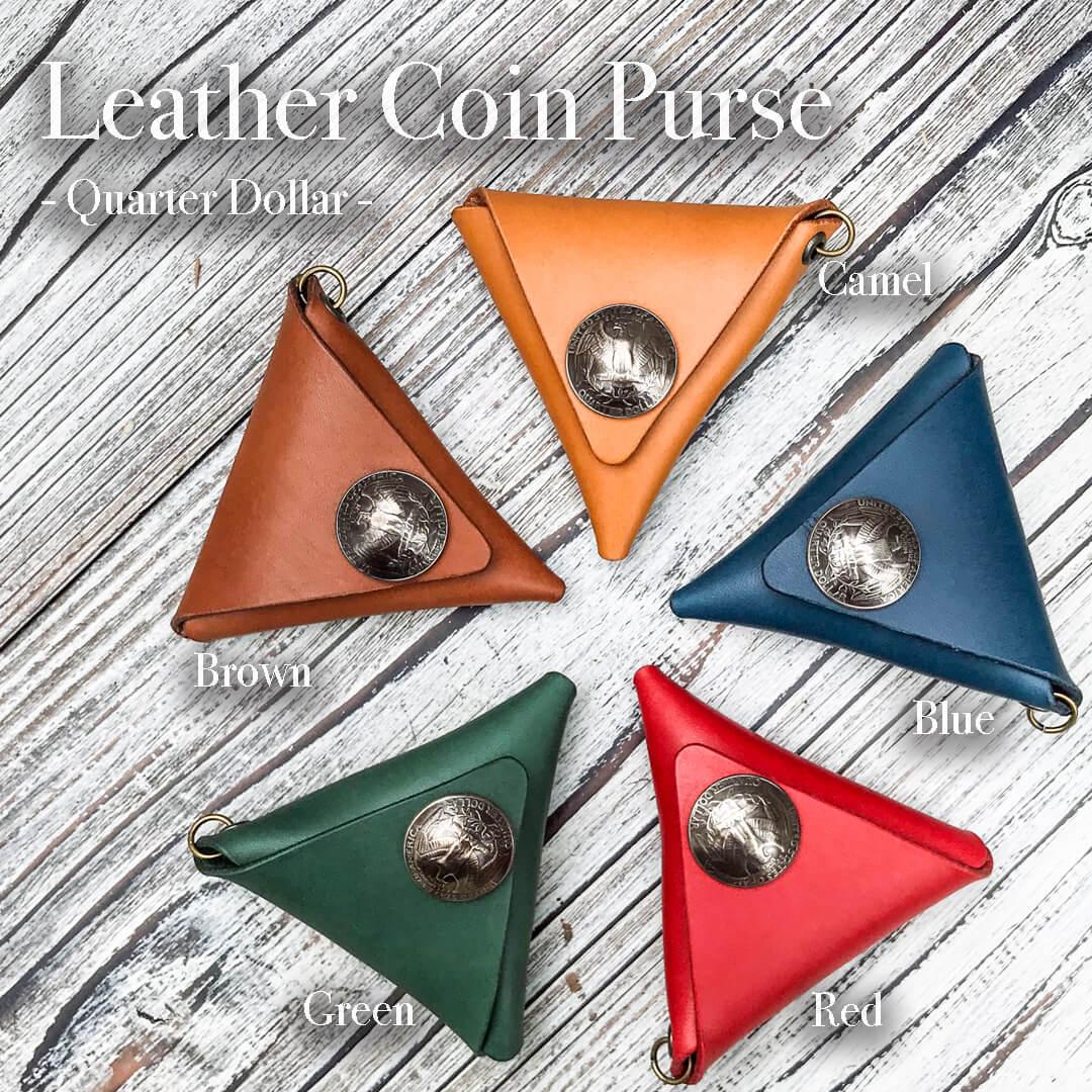 [財布]レザー三角コインケース (Quarter)