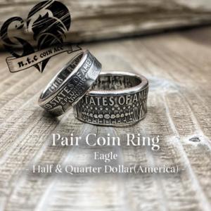 ペアコインリング Half & Quarter Dollar -Eagle-