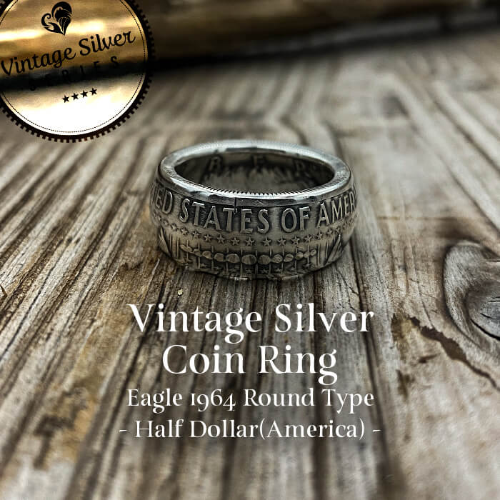 [リング]シルバーコインリング Half Dollar -Eagle- 1964 ラウンドタイプ