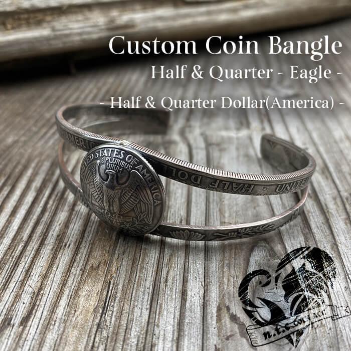 [バングル]カスタムコインバングル Half & Quarter Dollar -Eagle-